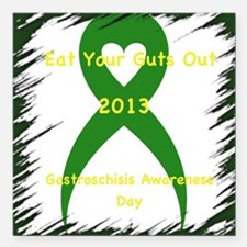 """Eat Your Guts Out Square Car Magnet 3"""" x 3"""""""
