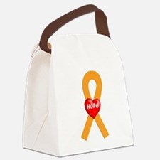 Orange Hope Ribbon Canvas Lunch Bag