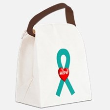 Teal Hope Ribbon Canvas Lunch Bag