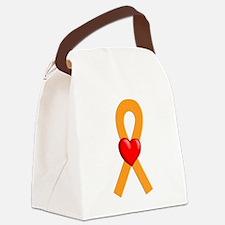 Orange Heart Ribbon Canvas Lunch Bag