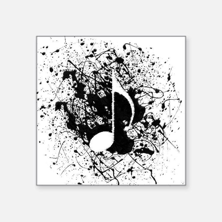 "Music Splatter Square Sticker 3"" x 3"""