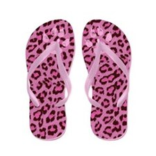 Pink Leopard Fur Flip Flops