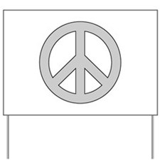Silver Peace Sign Yard Sign