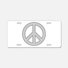 Silver Peace Sign Aluminum License Plate