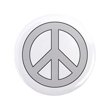 "Silver Peace Sign 3.5"" Button"