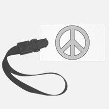 Silver Peace Sign Luggage Tag