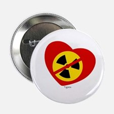 "Heart No Nukes (on white) by Tigana 2.25"" Button"