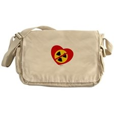 Heart No Nukes (on white) by Tigana Messenger Bag