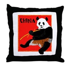 CHINA Panda Bear Red Throw Pillow