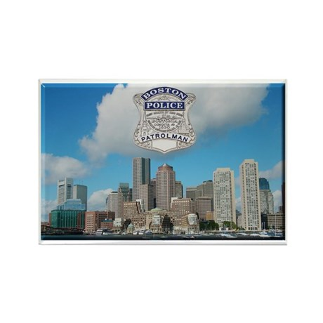 Boston Skyline Police Rectangle Magnet (100 pack)