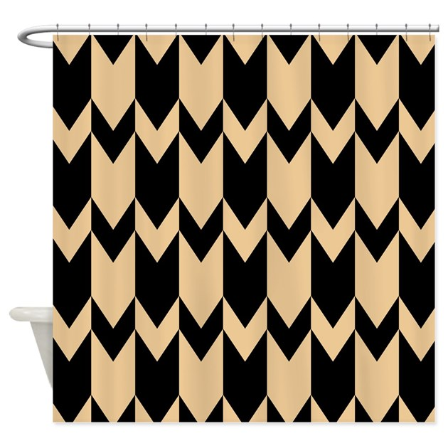 Beige And Black Chevrons Shower Curtain By Metarla4
