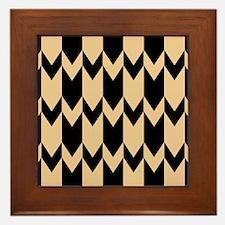 Beige and Black Chevrons. Framed Tile