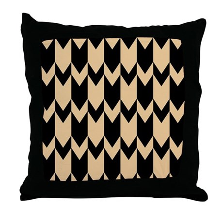 Black And Beige Decorative Pillows : Beige and Black Chevrons. Throw Pillow by Metarla4