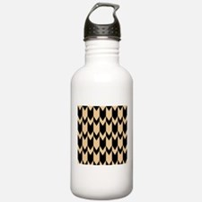Beige and Black Chevrons. Water Bottle