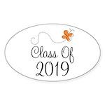 Class of 2019 Butterfly Sticker (Oval 50 pk)