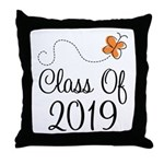 Class of 2019 Butterfly Throw Pillow