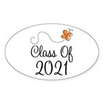 Class of 2021 Butterfly Sticker (Oval 50 pk)