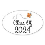 Class of 2024 Butterfly Sticker (Oval 50 pk)