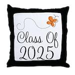 Class of 2025 Butterfly Throw Pillow