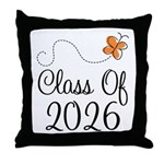 Class of 2026 Butterfly Throw Pillow