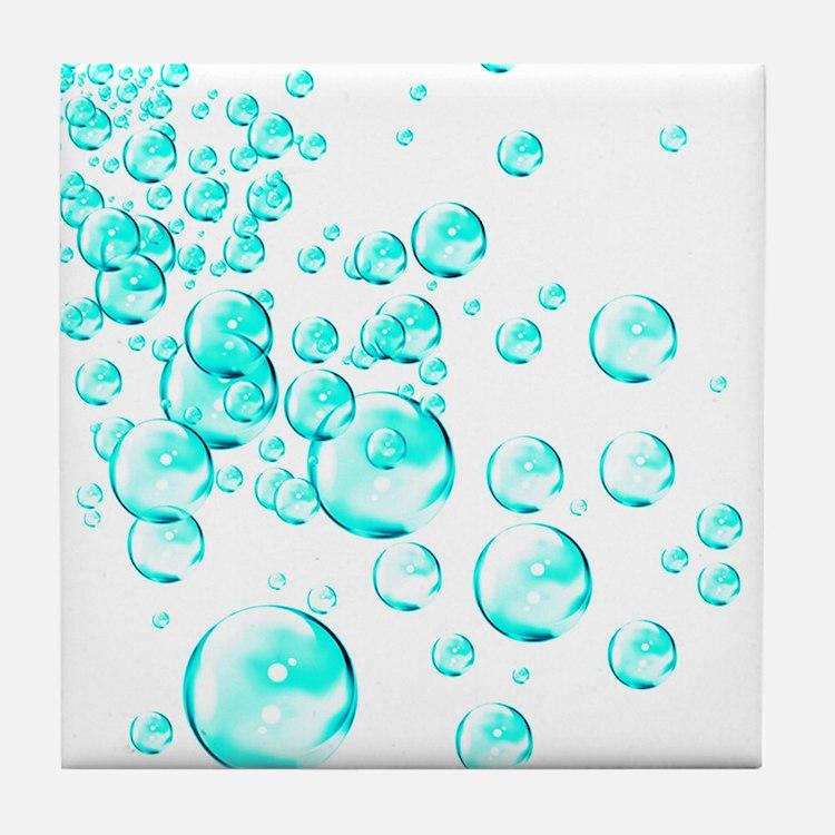 aqua bubbles Tile Coaster