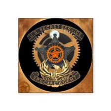 "Steampunk Secret Service Badge Square Sticker 3"" x"