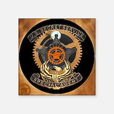 "Steampunk Secret Service Badge Square Sticker 3"" x"