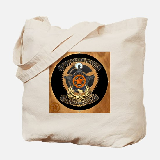 Steampunk Secret Service Badge Tote Bag