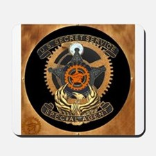 Steampunk Secret Service Badge Mousepad