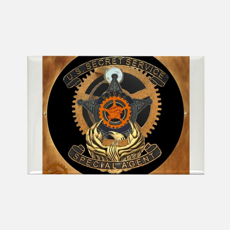 Steampunk Secret Service Badge Rectangle Magnet