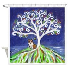Corgi butterfly tree Shower Curtain