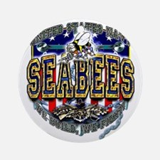 US Navy Seabees Shield Ornament (Round)