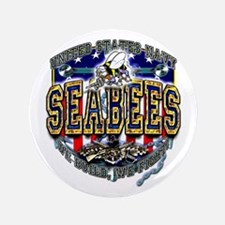 """US Navy Seabees Shield 3.5"""" Button"""