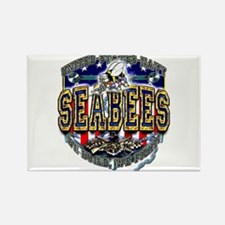 US Navy Seabees Shield Rectangle Magnet