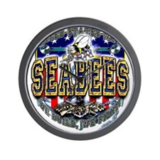 US Navy Seabees Shield Wall Clock