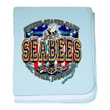 US Navy Seabees Shield baby blanket