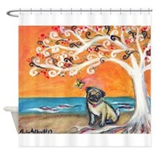 Pug ~the beauty of orange Shower Curtain