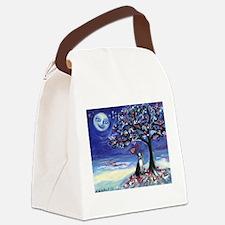 Boston Terrier love hearts Canvas Lunch Bag