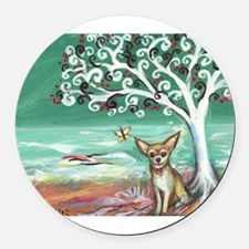 chihuahua spiritual love tree Round Car Magnet