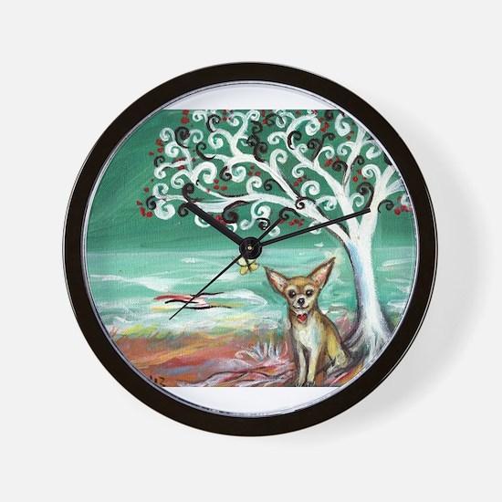 chihuahua spiritual love tree Wall Clock