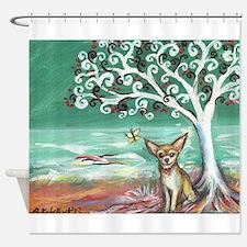 chihuahua spiritual love tree Shower Curtain