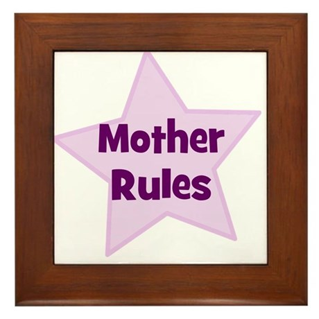 Mother Rules Framed Tile