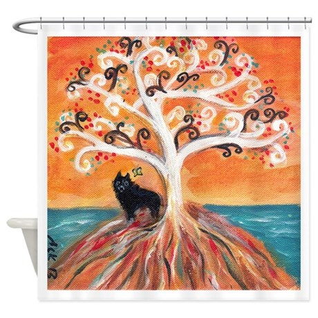 Schipperke spiritual tree shower curtain by petartbyangie for Spiritual shower