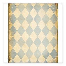 "Vintage Blue Diamond Print Square Car Magnet 3"" x"