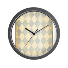 Vintage Blue Diamond Print Wall Clock