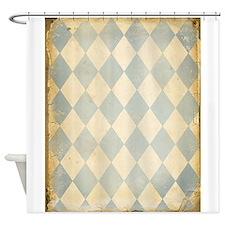 Vintage Blue Diamond Print Shower Curtain