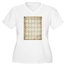 Vintage Blue Diamond Print Plus Size T-Shirt