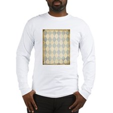 Vintage Blue Diamond Print Long Sleeve T-Shirt