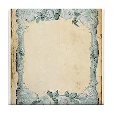Vintage Blue Roses Frame Tile Coaster