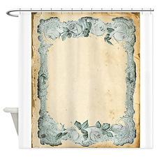 Vintage Blue Roses Frame Shower Curtain